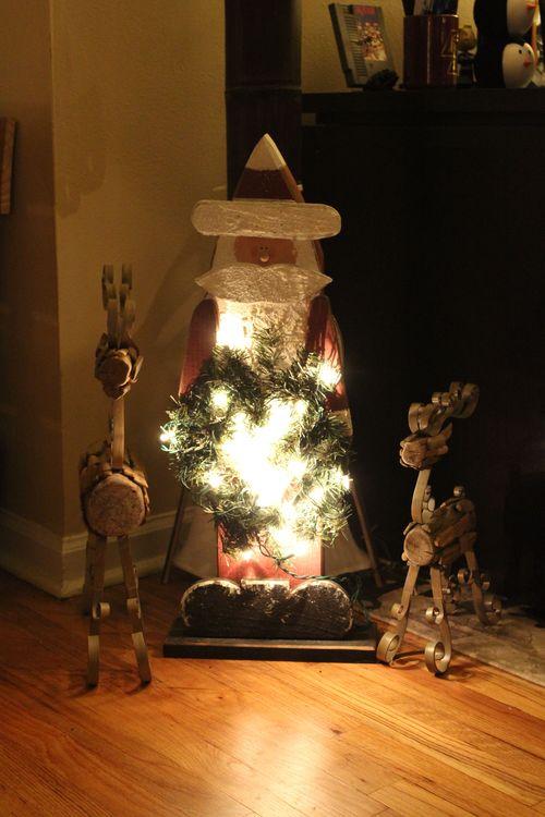 Santa with Lit Wreath